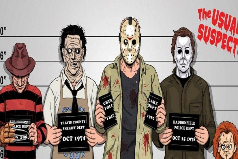 comics funny freddy krueger jason voorhees michael myers the usual suspects  leatherface 1600x1200 Art HD Wallpaper