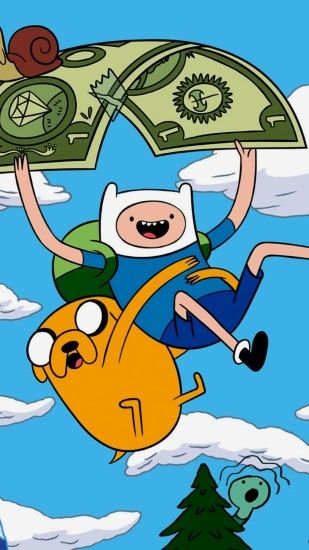 1440x2560 Wallpaper adventure time with finn and jake, sky, flying, forest