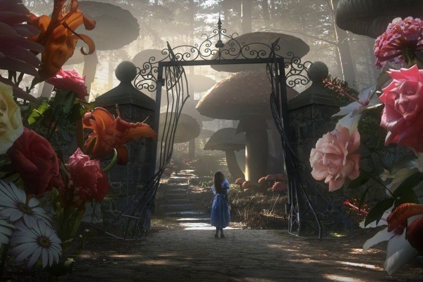 alice in wonderland tim burton flower gates