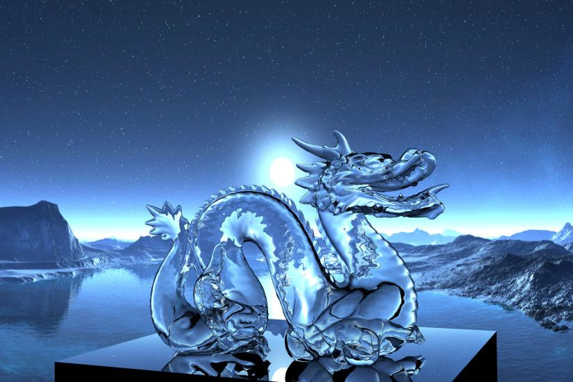 dragon, 3D, Refraction, Night