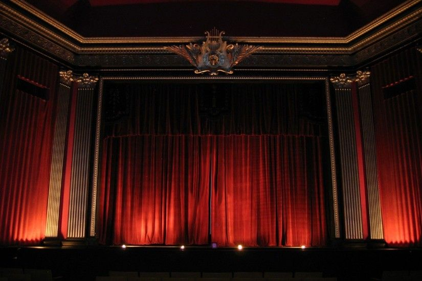 Theater Red Curtains Wallpaper and Stock Photo