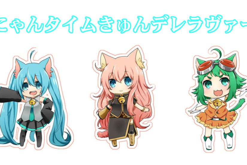 Tags: Anime, VOCALOID, GUMI, Megurine Luka, Hatsune Miku, Wallpaper,