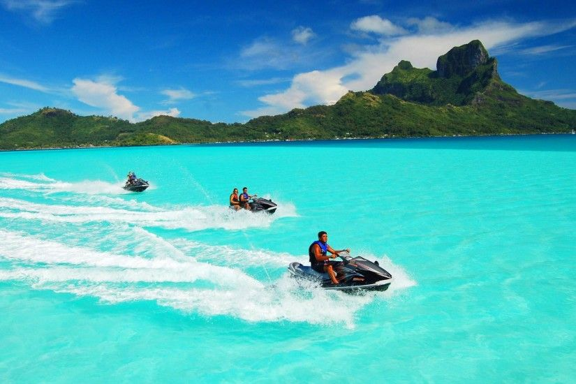 Vehicles - Jet Ski Vehicle Earth Nature Ocean Tropics Tropical Turquoise Bora  Bora Wallpaper