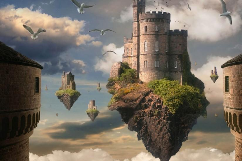D Flying Fantasy Castle rock look hanging basket, castle, plants and bird  mobile…