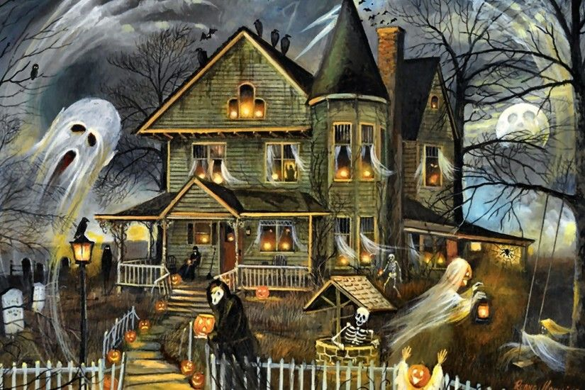 Houses - Haunted Haven Art Artwork Occasion Wide Screen Painting Beautiful  Holiday Illustration House Halloween October