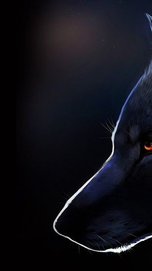 Wolf, Profile View, Majestic, Red Eyes, Furry