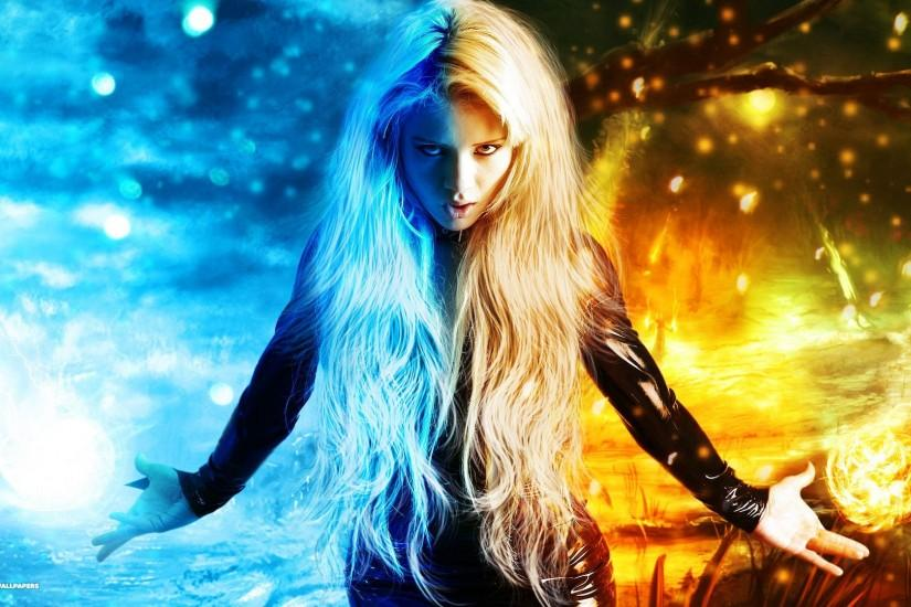 girl of fire and ice background
