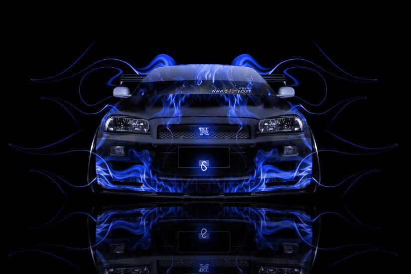 Genial Nissan Skyline GTR R34 JDM Front Blue