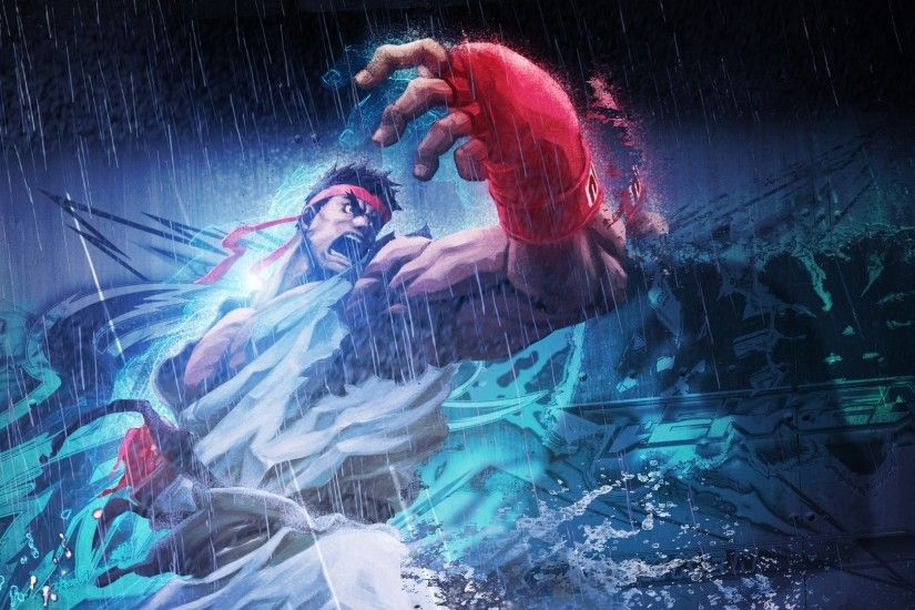 Preview wallpaper street fighter x tekken, ryu, angry, rain, clothes  2560x1080