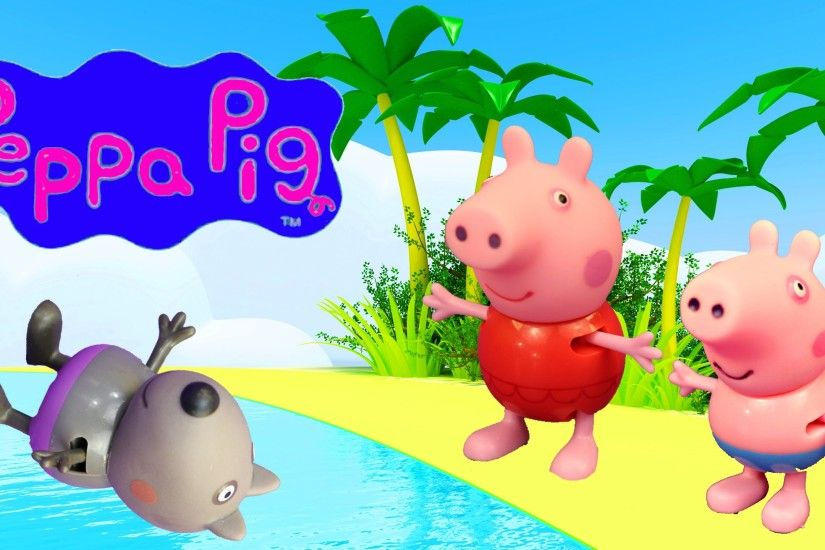 Peppa Pig Beach Holiday Vacation Candy Cat & George Pig SHARK ATTACK by  DisneyCarToys - YouTube