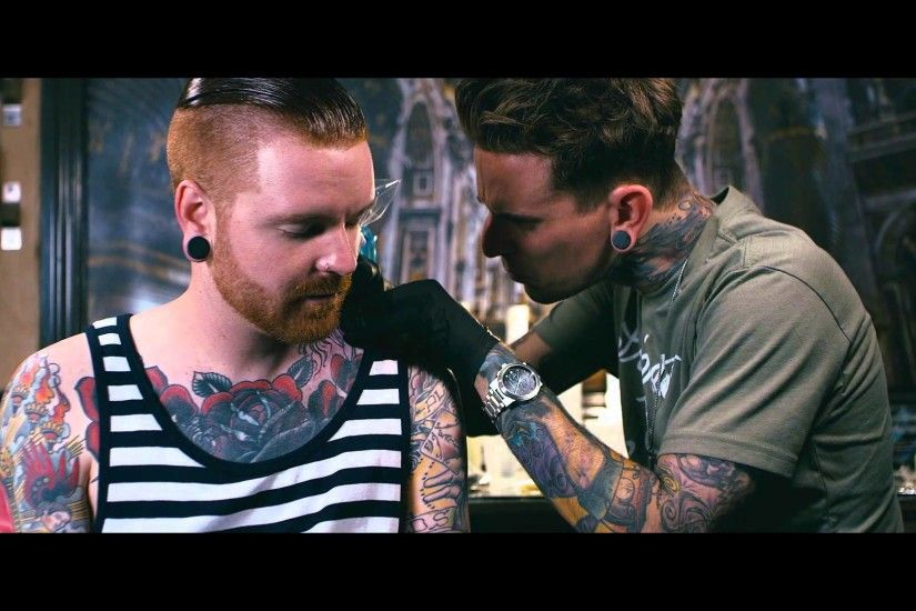 Backstage Ink | Matty Mullins of Memphis May Fire gets a Neck Tattoo by  London Reese - YouTube