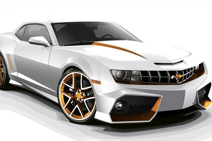 Chevrolet Camaro White 3D HD Car Wallpapers.