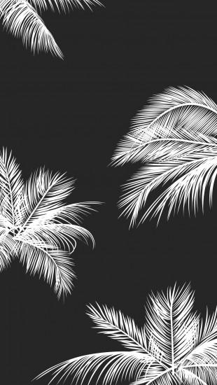 black, white, palm leaves, palm trees// amazing wallpaper for phone