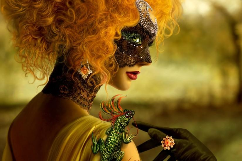 Women with Unique Mask HD Widescreen Wallpapers