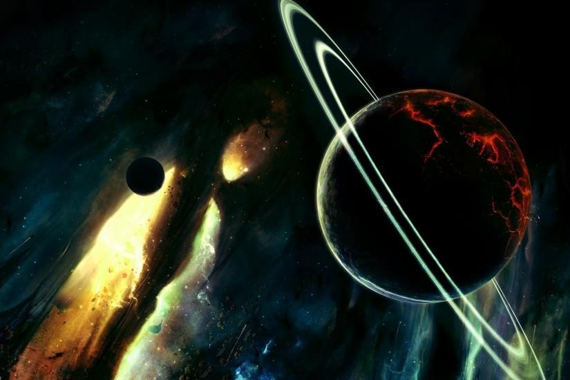 Preview wallpaper saturn, destruction, planets, stars 1920x1080