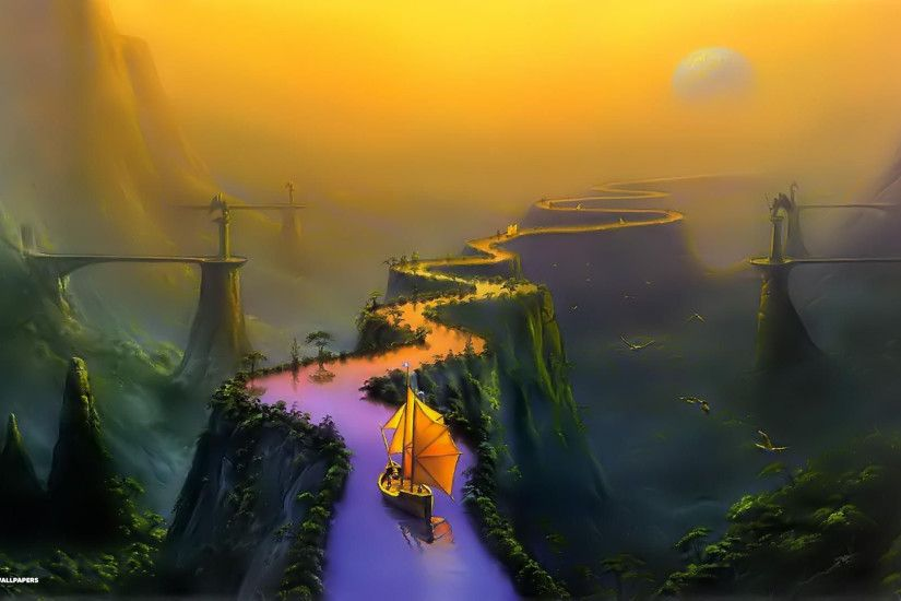 fantasy wallpaper bridge boat background