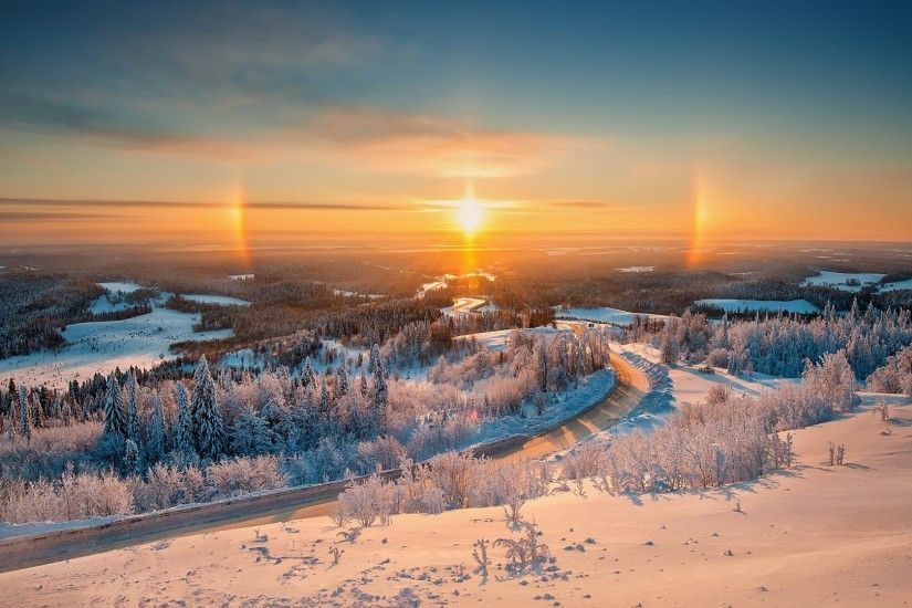 Download now full hd wallpaper road finland sunrise top view forest snow ...