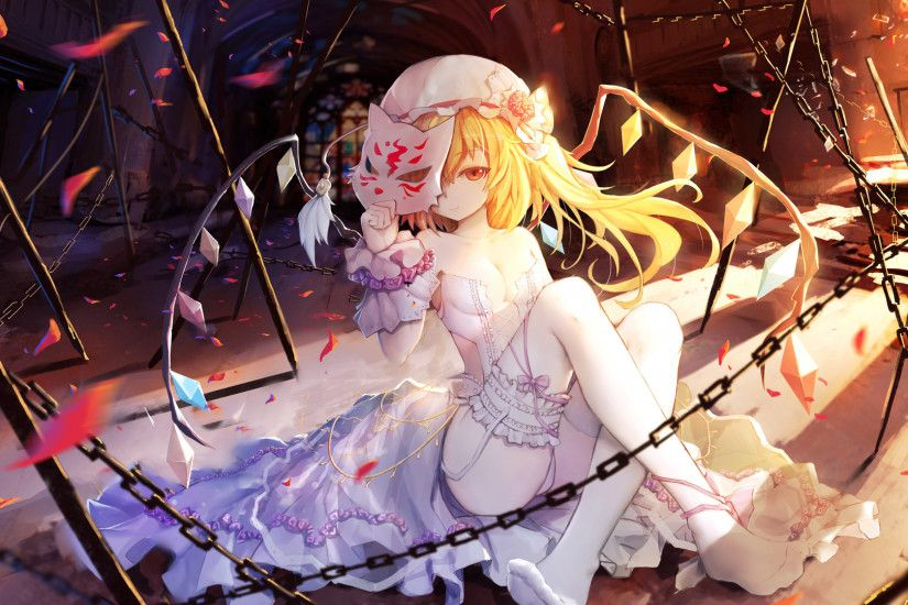 Flandre Scarlet, Touhou, anime girl, wedding dress, 1920x1080 wallpaper