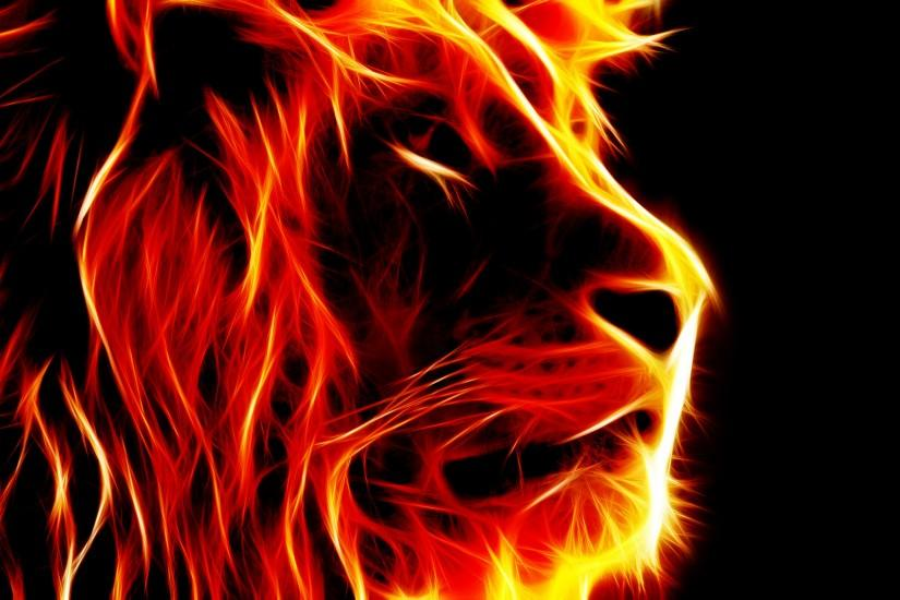 Lion-shaped pictures of fire -free pictures
