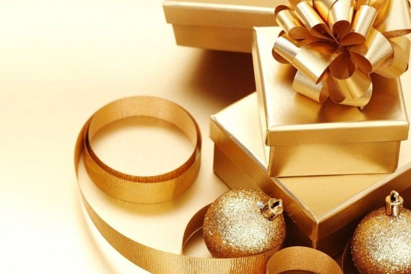 1920x1080 Wallpaper christmas decorations, gifts, gold, bow, ribbons,  holiday, christmas