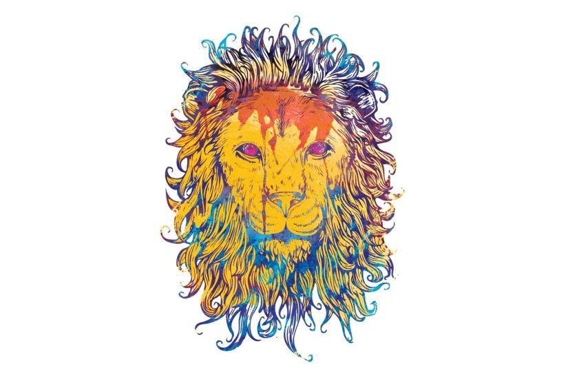 Very Cool Artwork Wallpaper Of A Lion With Plain White Background