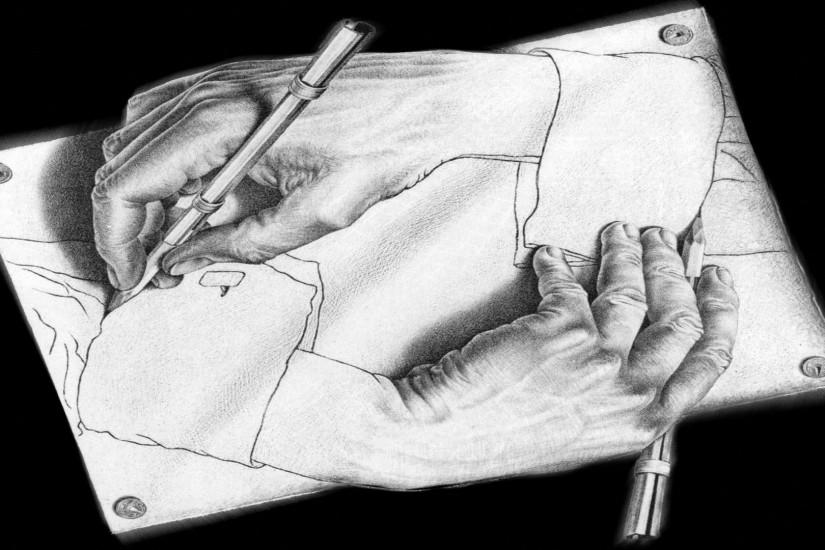 Hands drawings optical illusion wallpaper | 1920x1080 | 301968 | WallpaperUP
