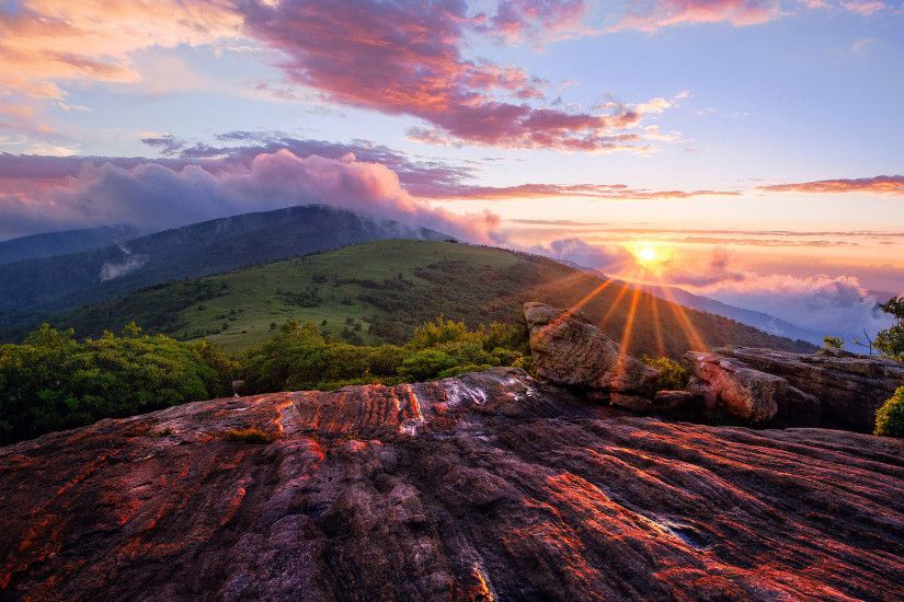Beautiful mountain sunset landscape: