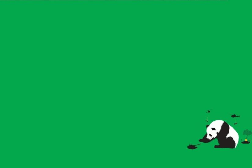 Funny Green Minimalistic Panda Bears Simple Background Threadless