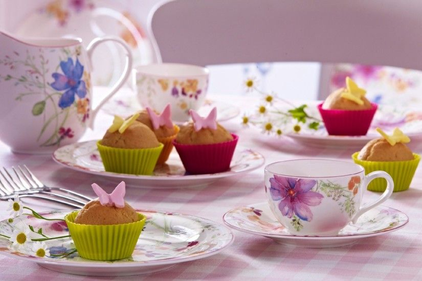 1920x1080 Wallpaper tea party, cups, dishes, sweets, cupcakes