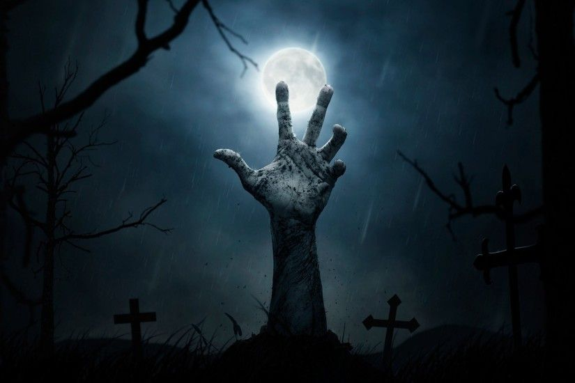 halloween horror night moon cemetery grave cross graveyard hand to freedom