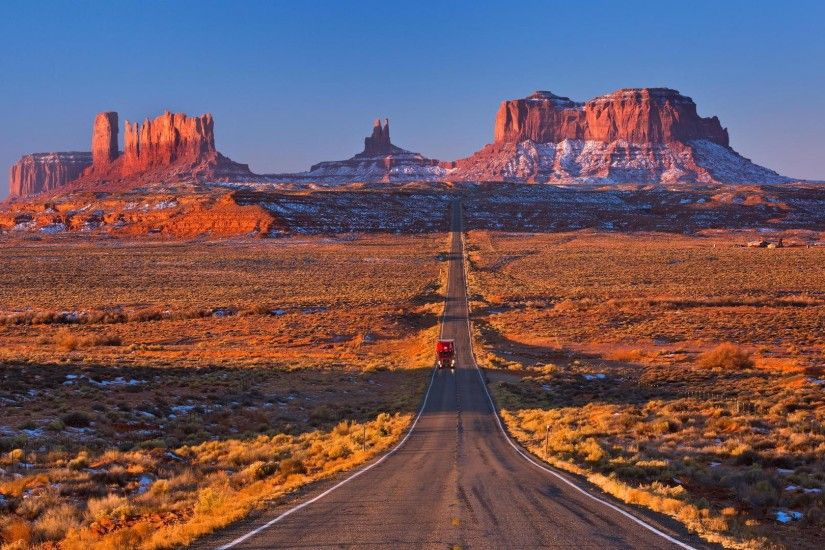 Winter Desert Straight Truck Road Mountains Arizona Backgrounds Detail