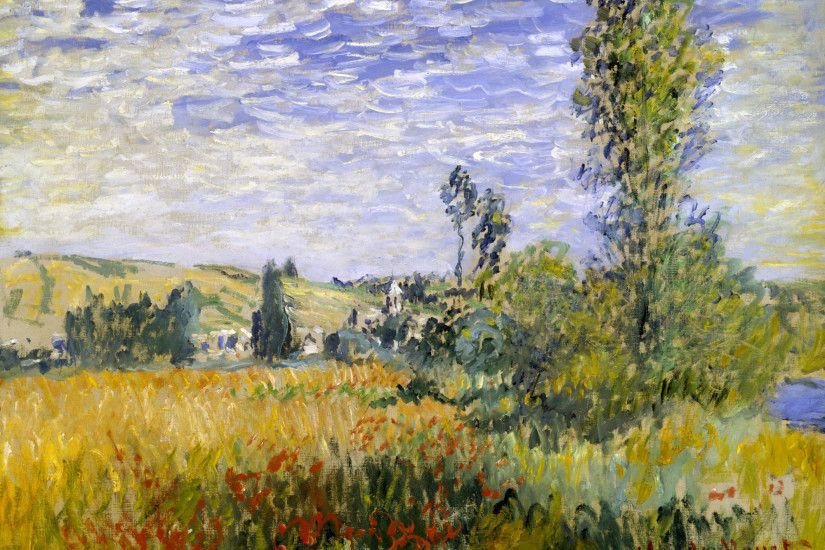 Impressionist painting : Claude Monet Paintings HD Wallpapers - Claude  Monet Painting : Landscape at Vetheuil, 16