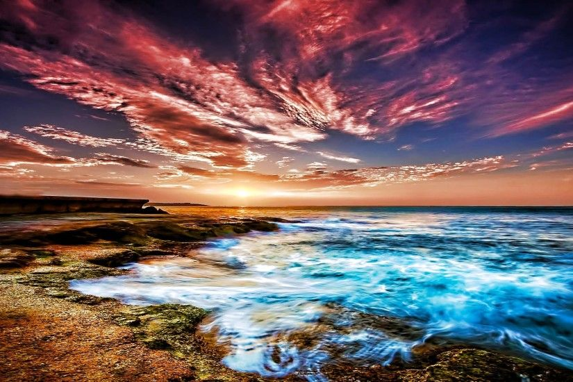 Colorful Sky Over A Beach Hdr Wide Desktop Background Wallpaper HD