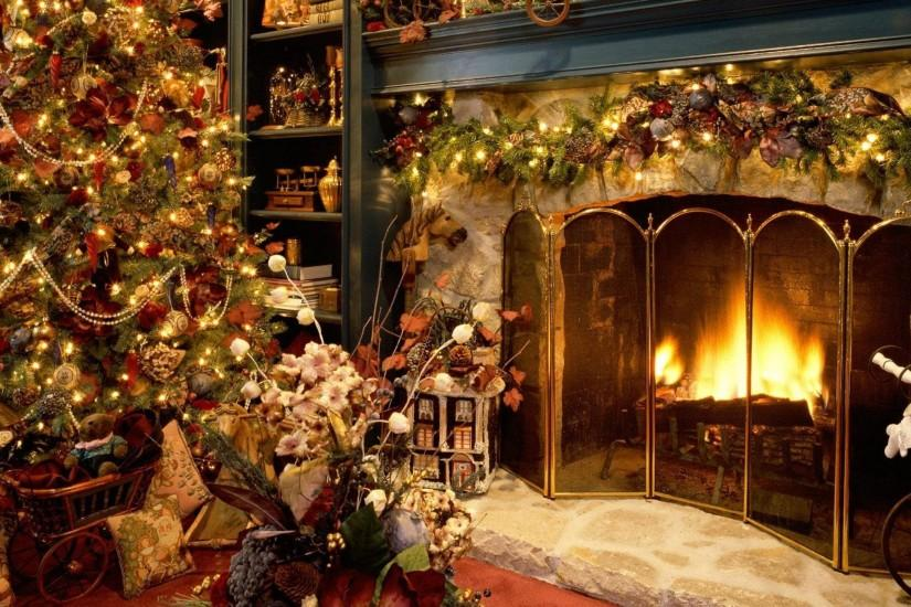 Download Wallpaper 3840x2160 new year, christmas, fireplace, fur .