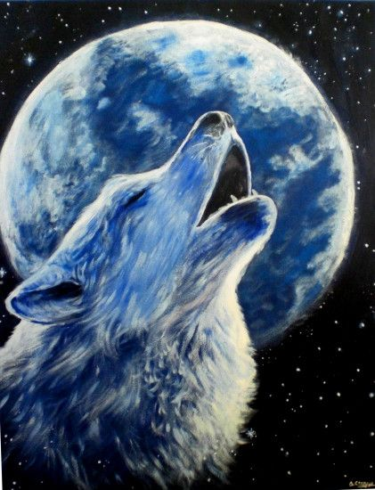 Wolf howling at the moon painting - photo#27