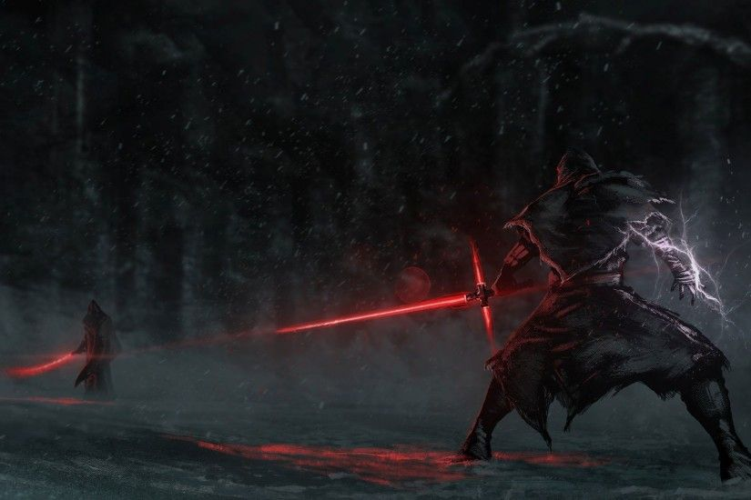 Fighting with lightsabers HD Wallpaper 1920x1080