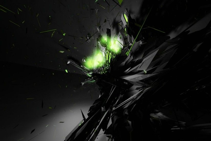 Dark Explode Abstract With Black And Neon Wallpaper