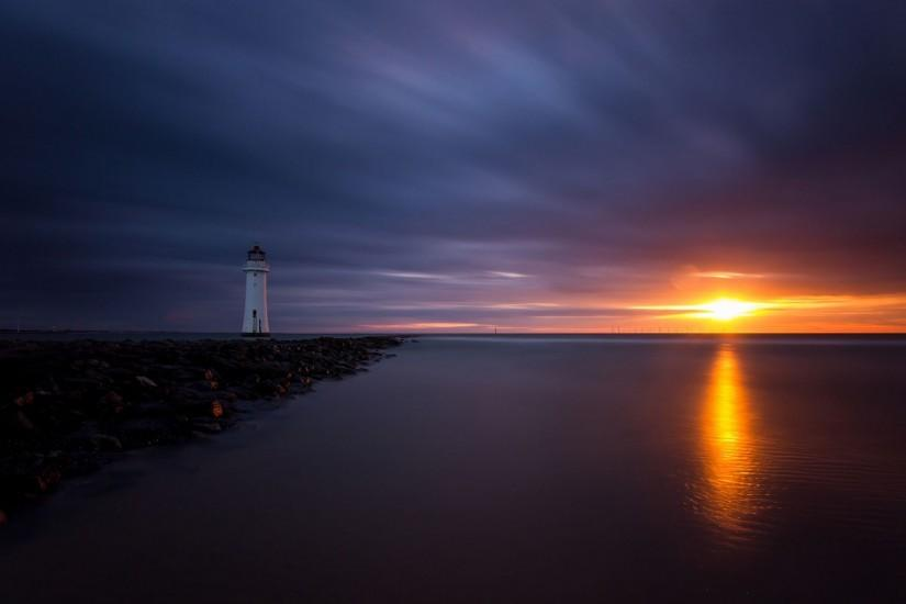 Beautiful Ocean With Lighthouse Wallpapers #23477 Wallpaper .