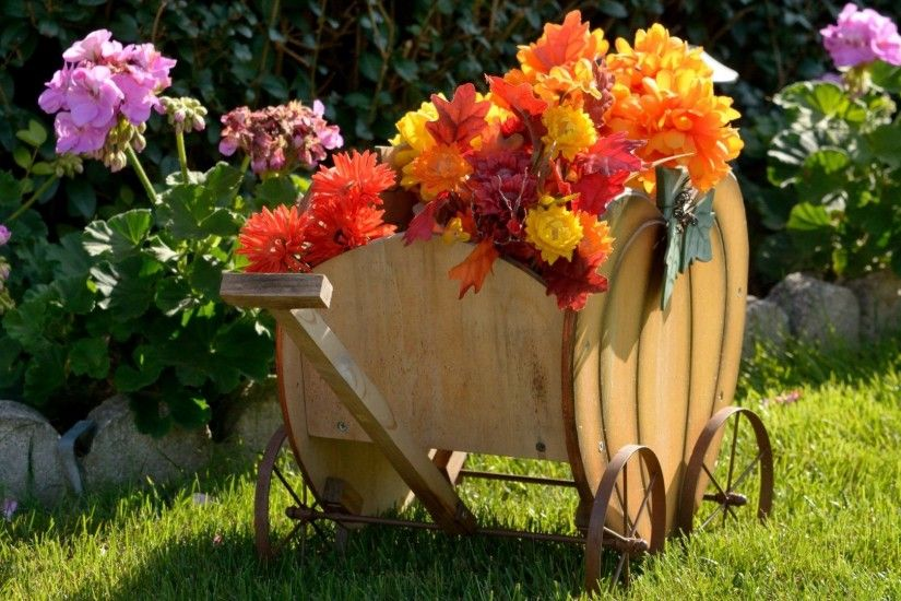 #CC8844 Color - Festive Wagon Decor Harvest Autumn Flower Scene Desktop  Flowers Backgrounds for HD