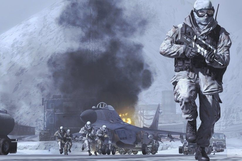 Wallpaper Call of duty modern warfare 2, Soldiers, Snow, Airport, Aircraft