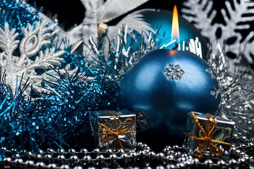Blue Christmas candle HD Wallpaper