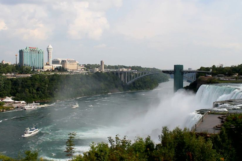 View from the American side Niagara Falls, New York, USA and the Niagara  River along the border with both Canada and the US landscape on September  5, 2014.