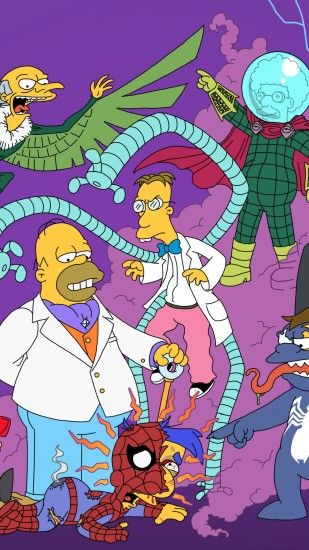 1440x2560 Wallpaper the simpsons, simpsons, spiderman, superheroes