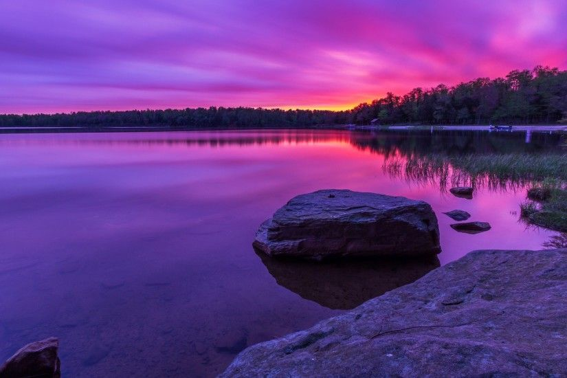 Purple sunset, forest, lake, rocks wallpaper 1920x1200