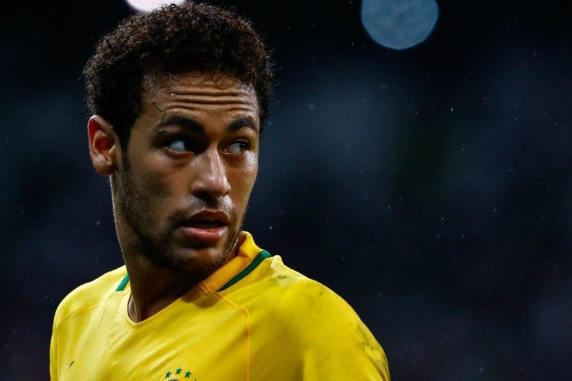 Neymar of Brazil looks on during a match between Brazil and Paraguay as  part of 2018 FIFA World Cup Russia Qualifier at Arena Corinthians on March  2017 in ...