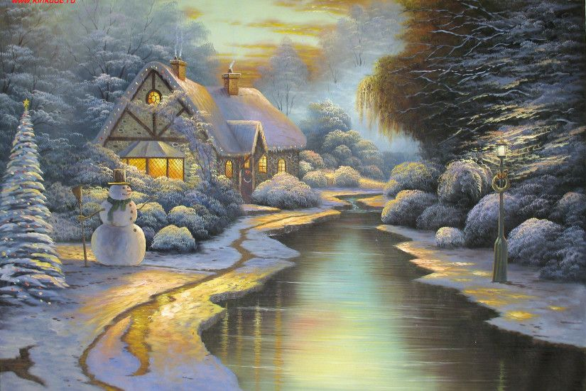 Desktop Hometown Christmas Thomas Kinkade Painting .