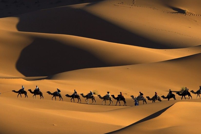 nature, Animals, Landscape, Camels, Morocco, Africa, Sand, Desert, Dune,  People, Shadow, Footprints, Touaregs Wallpapers HD / Desktop and Mobile  Backgrounds