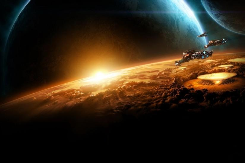 Preview wallpaper starcraft, planet, sun, earth, space 1920x1080