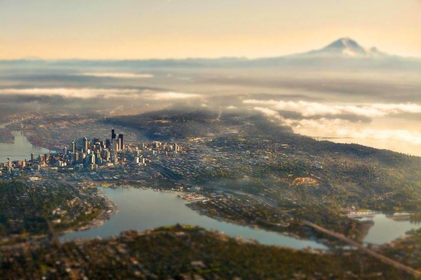 ... City, Seattle, USA, Mountain, Lake, Skyscraper, Building, Clouds, Tilt  Shift, Bridge, Road, Mist, Aerial View, Bird's Eye View Wallpapers HD /  Desktop ...