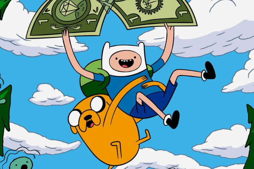 2048x2048 Wallpaper adventure time with finn and jake, sky, flying, forest